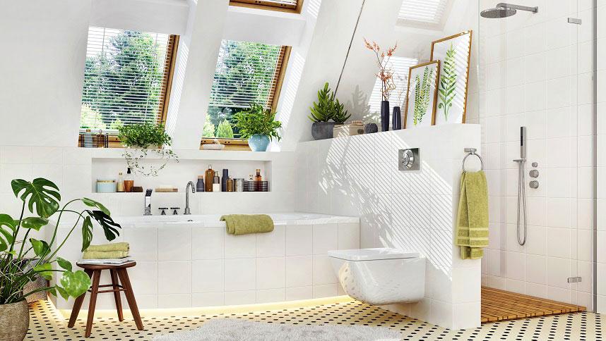 łazienka z dużą ilością światła i zieleni