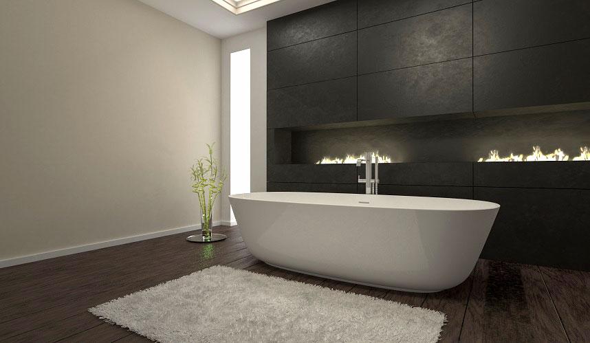 nowoczesna minimalistyczna łazienka z kamiennymi płytkami