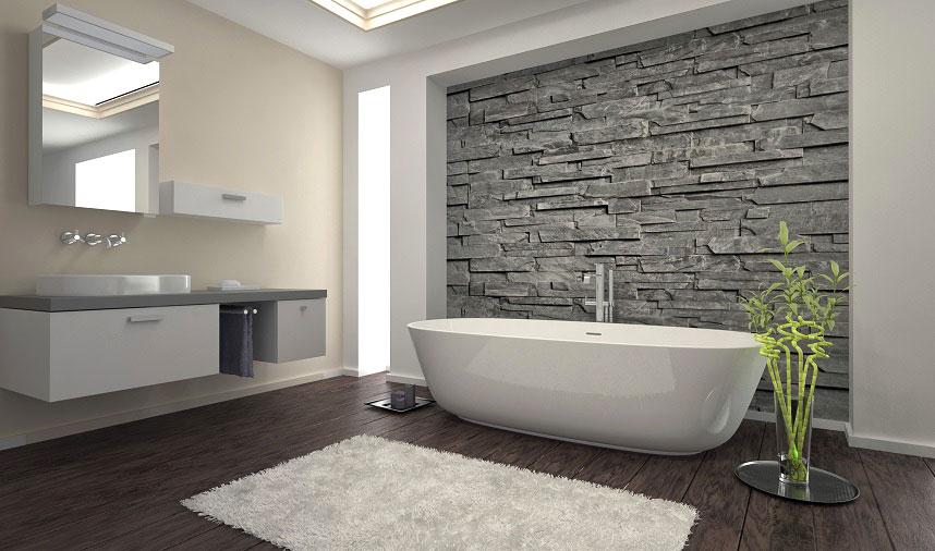 piękna łazienka z kamieniem naturalnym we wnęce ściennej
