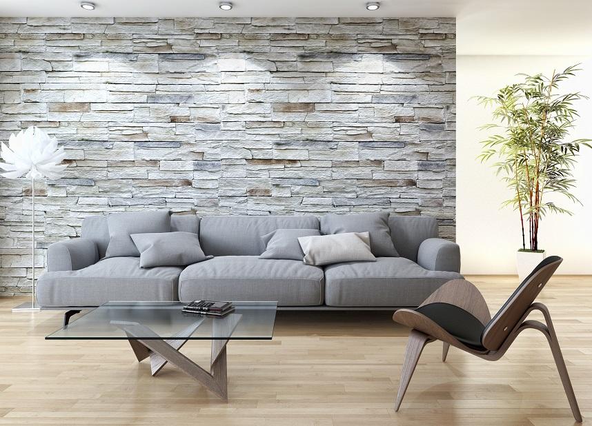 Kamień na ścianie w salonie w stylu skandynawskim inspiracje